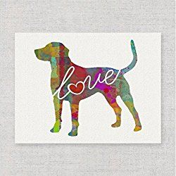 Catahoula Cur (Leopard Dog) Love - A Modern & Whimsical Dog Breed Watercolor-Style Wall Art Print / Poster on Fine Art Paper. Unframed & Can be Personalized