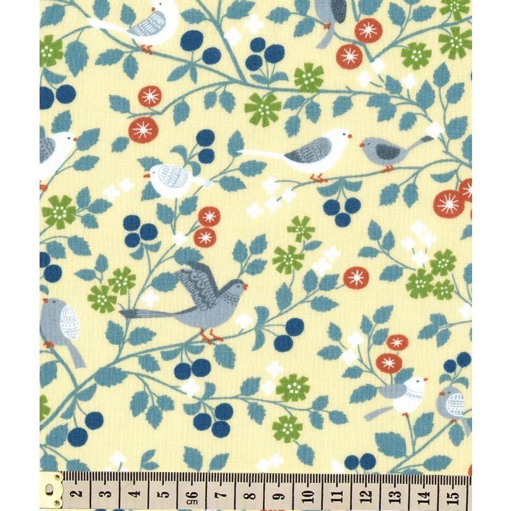 Tissu au mètre Frou-Frou Les oiseaux coloris Ivoire nacré idéal pour vos créations couture, décoration ou customisation. Il s'accorde harmonieusement avec les tissus Unis assortis.