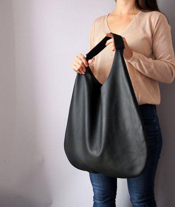 Black Leather Hobo Bag Handbag