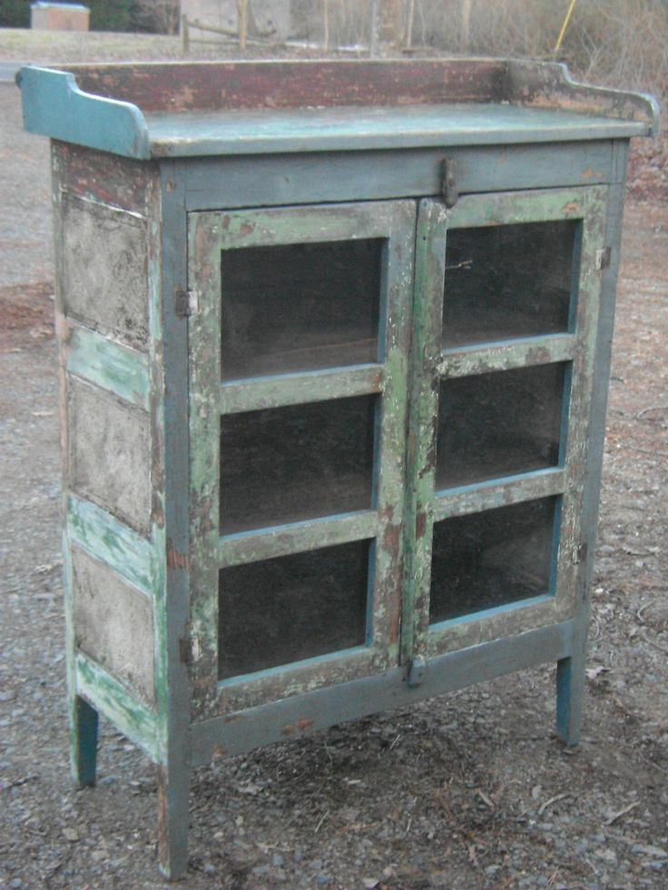 Primitive antique pie safe amazing painted