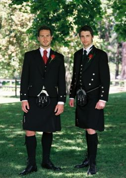 Black Kilts for a Groom and Best Man | Wedding Kilts | Scottish Dress | slaters.co.uk