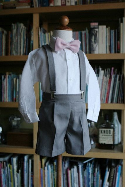 Full outfit of Shorts Bow tie  Suspenders by finehandmadeclothing, $185.00