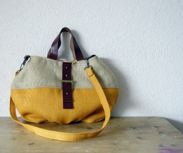 yellowStyle, Ira Grant, Two Tone, Awesome Handbags, Bags Handmade, Accessories, Cabas Bags, Le Cabas, Leather Handles