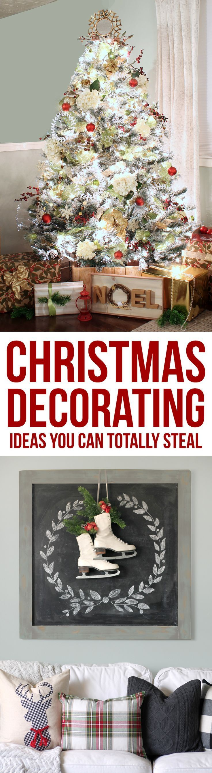 Inexpensive ways to decorate your home for Christmas. Such cute ideas for the holidays! #christmas Farmhouse Christmas decor ideas