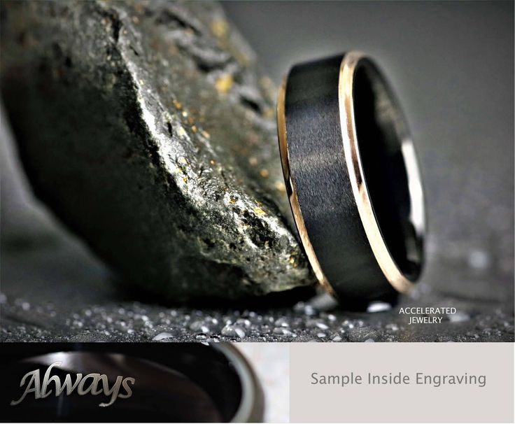 SUMMER SALE !!! 8MM Mens Satin Black Tungsten Ring & 18K Rose Gold Edges For Weddings, Engagement, Anniversary, Custom Laser Engraved Inside by AcceleratedJewelry on Etsy https://www.etsy.com/au/listing/538303211/summer-sale-8mm-mens-satin-black