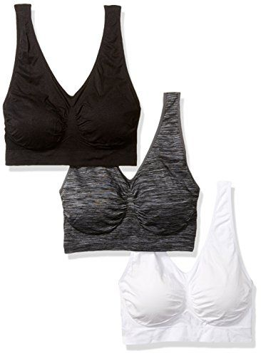 d0cf7eef1615 Barbra Lingerie Barbra 3 Pack Women's Plus Size Seamless Comfort Sports  Bras with Removable Pads