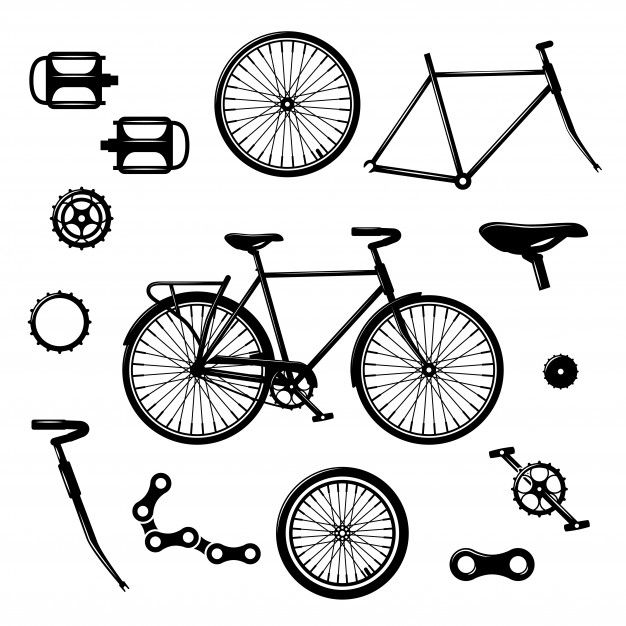 Bike Parts Bicycle Equipment And Components Isolated Vector Set