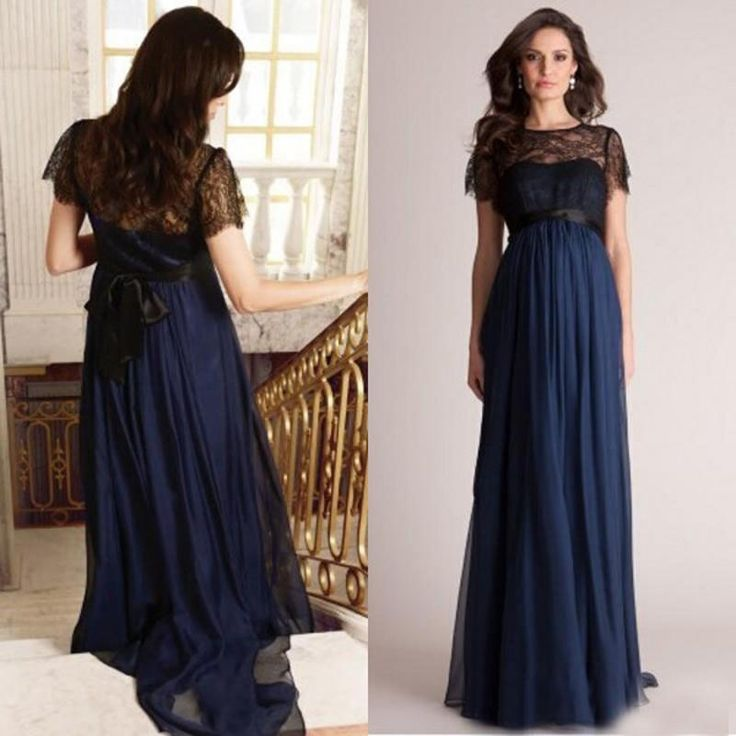 2015 Empire Black And Navy Blue Evening Gown Long Formal Prom Party Dresses For Maternity Short Lace Sleeves Pregnant Celebrity Red Carpet Evening Dresses With Sleeves Uk Evening Lace Dresses From Weddingfactory, $112.57| Dhgate.Com