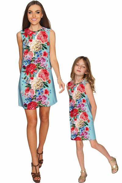 Amour Adele Shift Floral Mommy and Me Dresses - Pineapple - Mommy and Me Clothing