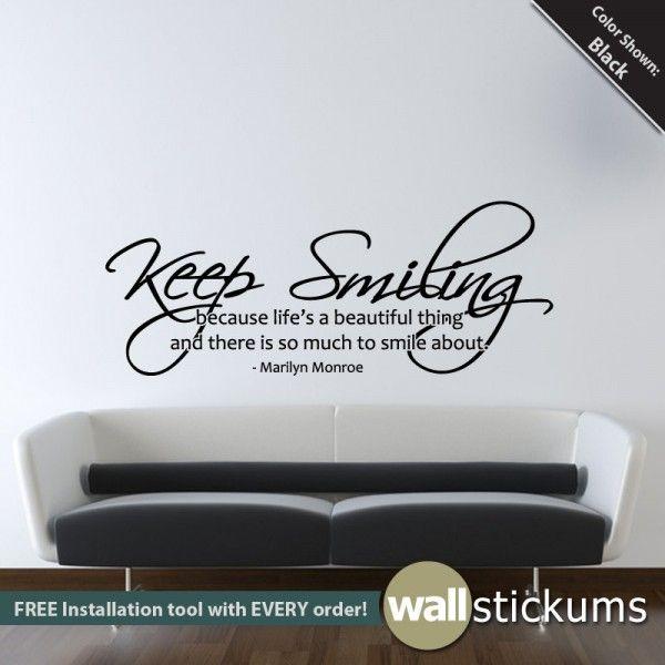 Keep smiling quote marilyn monroe wall decal decor http wallstickums com