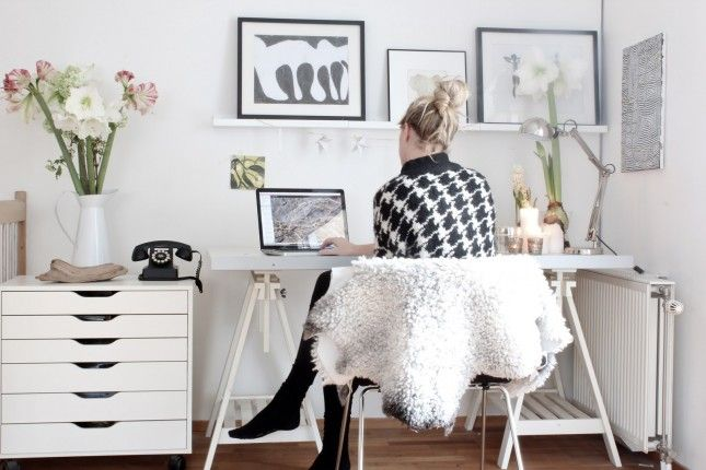 15 Home Offices That Will Keep Your Creativity Flowing | Brit + Co.: Desks Area, Christmas Work, Home Offices Spaces, Interiors Design, Work Spaces, Workspaces, White Offices, Desks Spaces, My Scandinavian Home