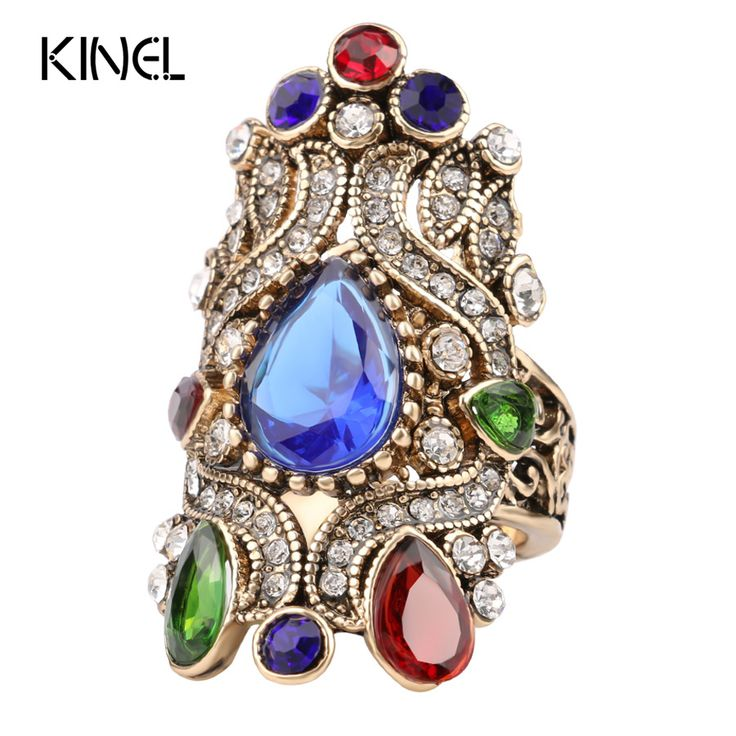 Unique Turkey Jewelry Turquoise Rings For Women Fashion Love Engagement Gift Plating Gold Mosaic Crystal Crown Anillos