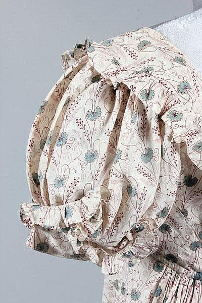 A cotton printed cotton day dress, circa 1820, My note: click on the dress and go to the bid site to see the details