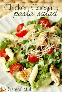 Six Sisters Grilled Chicken Caesar Pasta Salad Recipe. This can work as your main dish or a side for the hearty eater!!