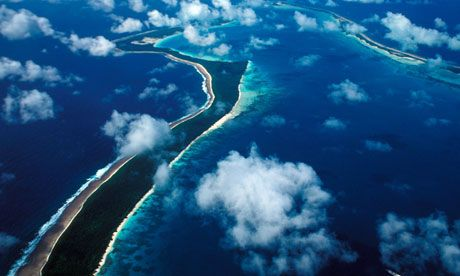 An aerial view of Diego Garcia Islands, part of the Chagos archipelago. Photograph: John Parker/Alamy.  Chagossians for marine reserve.  Greenpeace and other groups say the rights of the islanders, who cannot return to the archipelago, have been violated.