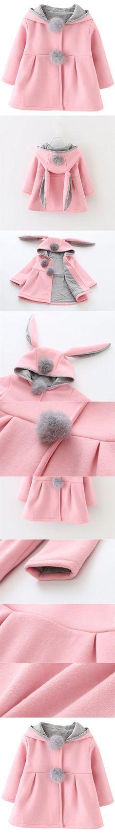 Kids Baby Girls Coat Winter Warm Hoodie Jacket Outerwear #babyouterwear