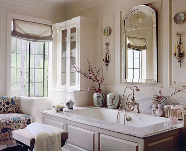 interior designer mary mcdonald...this spacious and airy master bath looks  and feels