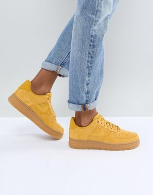 Nike Air Force 1 Mustard Suede Trainers With Gum Sole