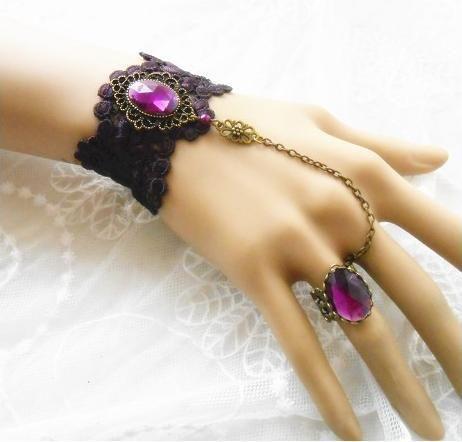 retro gothic jewelry handmade bracelets bangles mysteries purple crystal ring fashion charm bracelet hand chain nice gift box bj $8.70