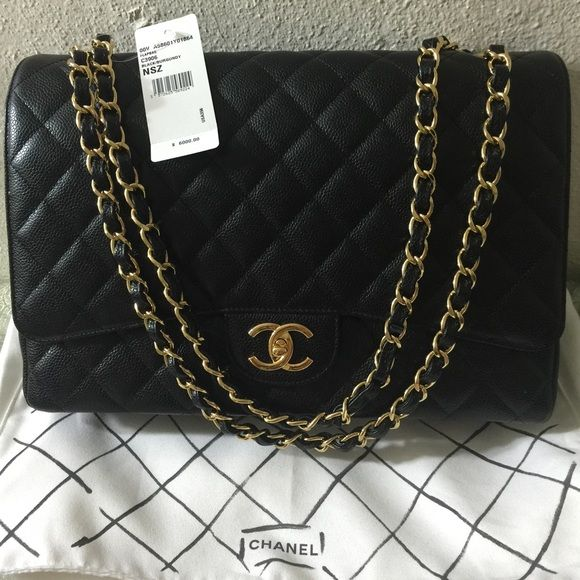 Chanel Flap Maxi GHW Just want to share with your guys my newest purchased! Chanel Maxi Flap Caviar Gold Hardwear Double Flap CHANEL Bags