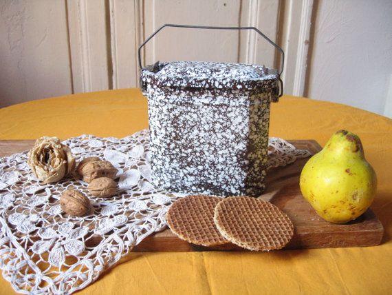 Ancienne boîte à repas en émail granité / Lunch box vintage / Boîte en métal émaillé / Boîte pique-nique / Boîte à goûter / Vintage français
