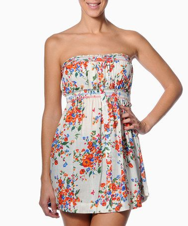 Another great find on #zulily! White Floral Abscisa Strapless Top #zulilyfinds