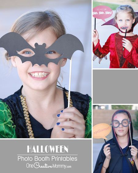 Planning a Halloween Party? Print free Halloween Photo Booth props & let your guests ham it up for the camera! Includes, Frankenstein, Harry Potter & more!