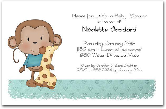 baby shower invitations: boy baby monkey shower invitations, Baby shower invitations