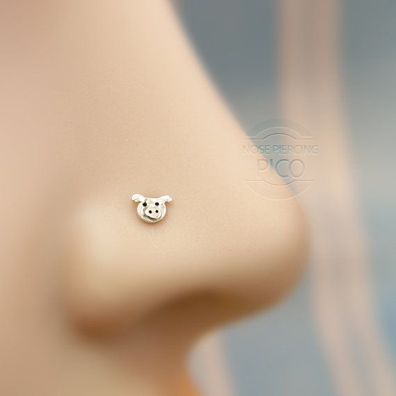 Nose Stud Tiny cute piggy Customize Sterling  by PicoNosePiercing