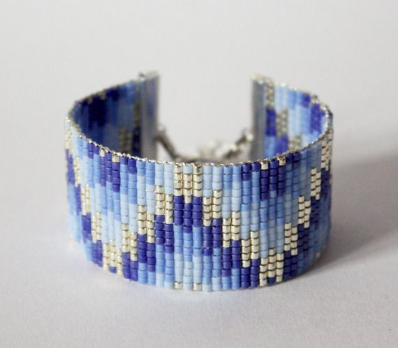 Tissage perles delicas miyuki / ARGENT, bleu