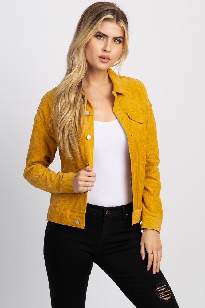 Yellow Corduroy Button Front Jacket | Mustard jacket ...