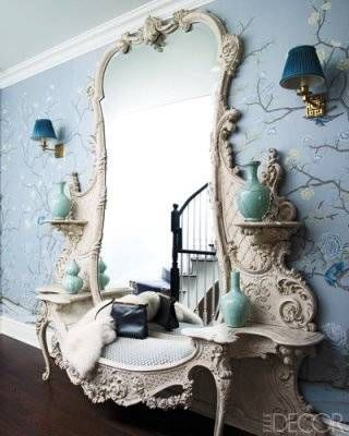 "Hallway by Celerie Kemble,   ""With that gorgeous antique mirrored bench, the De Gournay wall paper and the delicate sconces, she transformed an oft forgotten area, like a hallway, into something exciting, beautiful and whimsical. I look at it all the time for inspiration and every time it takes my breath away. It's simply stunning.""–Jessica Caldwell,"