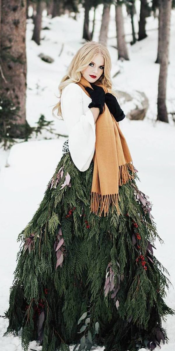 24 Winter Wedding Dresses & Outfits ❤ winter wedding dresses outfits with sleeves scarf christmas tree chantel lauren designs ❤ See more: http://www.weddingforward.com/winter-wedding-dresses-outfits/ #weddingforward #wedding #bride #winterweddingdresses