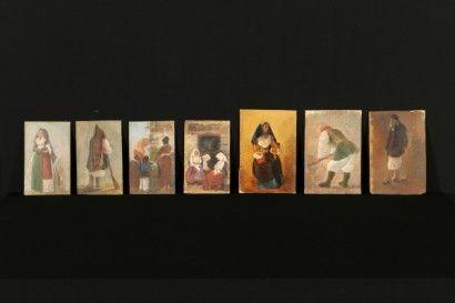 Gruppo di sette dipinti raffiguranti costumi di tradizione sarda