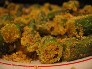 Fried okra makes ever meal better. The south knows how to cook!