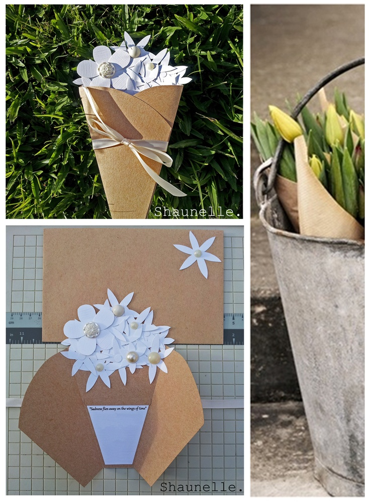 Flower Bouquet handmade card by Shaunelle.  #paperflower #bouquet #kraftpaper #handmade #card #shaunelle