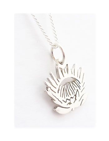 Tiny Detailed Protea Pendant On Chain - Miles For Style