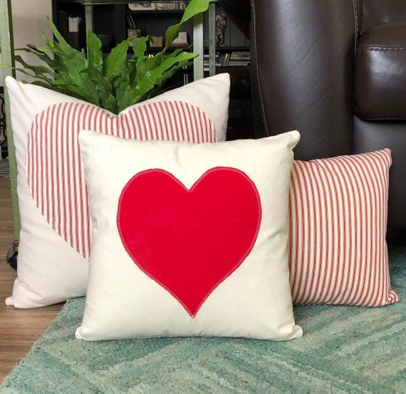 Heart Throw Pillow Cover Appliquéd in