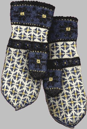 Beautiful knit Latvian mittens