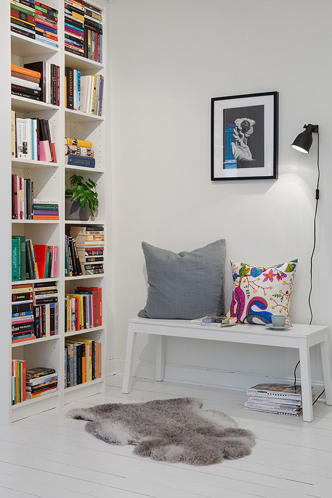 Ikea Billy Shelves Sigurd Bench Hektar Clamp Light And Ribba Frame Josef Frank And Svenskt