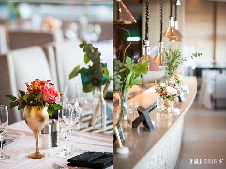 pink and coral and gold everywhere! | hotel restaurant reception details | Allie + Elliot's glam urban Arlington, VA wedding