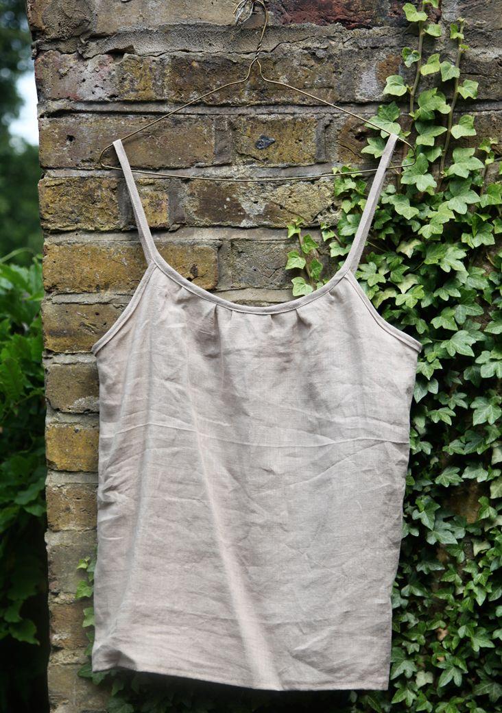 spaghetti strap tank top tutorial (linen/woven)