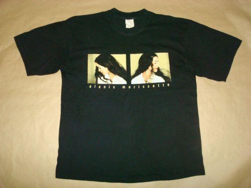 Alanis-Morissette-Vintage-EUROPEAN-junkie-tour-039-99-XL-tee-T-shirt-Cotton