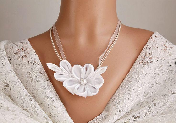 Kanzashi Flower Necklace White Satin Bridal by HandyCraftTS