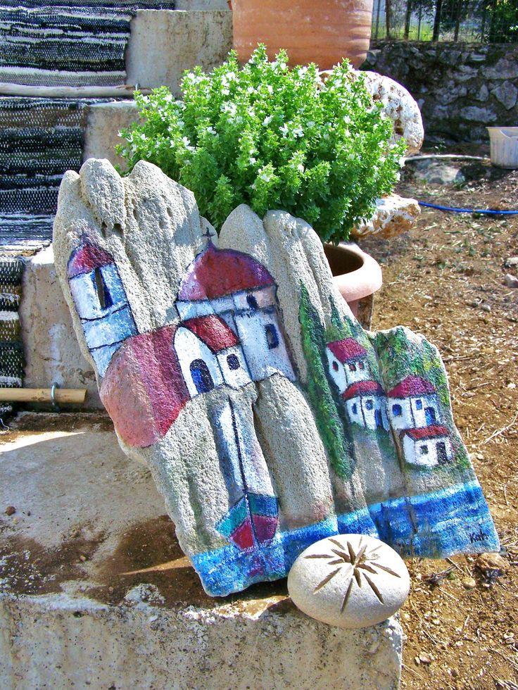 Acrílica sobre pedra do mar da Grécia
