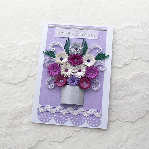 Paper Quilling Card Paper Quilled Silver POT por EnchantedQuilling