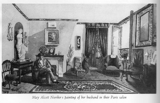 A reproduction May's painting of her salon in Meudon with Ernst.