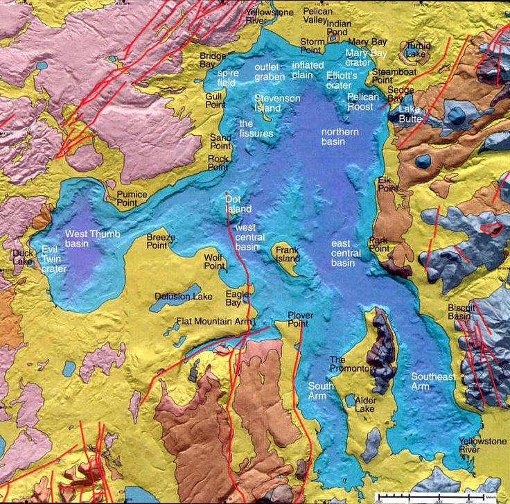 High-resolution bathymetric relief map of Yellowstone Lake, acquired by multibeam sonar imaging and seismic mapping, surrounded by colored geologic map of the area around Yellowstone Lake.