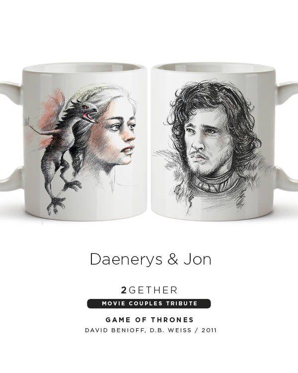 Pack 2 tazas Two Mugs Game of Thrones Daenerys Jon Snow Nieve Lovers Movie Mugs Valentine Parejas Valentin Movie Cinema Juego de Tronos de BagApart en Etsy