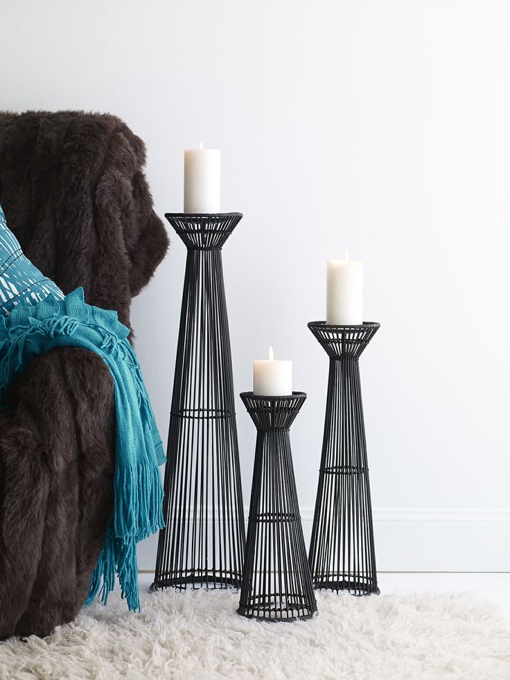 Monaco bamboo candle stand chocolate small $69.95, medium $79.95 and large $99.95 paired with vanilla nutmeg candles small $15.95 and large $22.95 shop the set here http://www.oasishomewares.com/host-a-party/book-an-Oasis-party.html